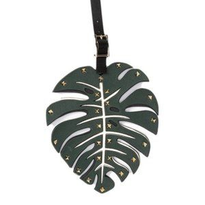 NEW Valentino Leather Studded Leaf Keychain
